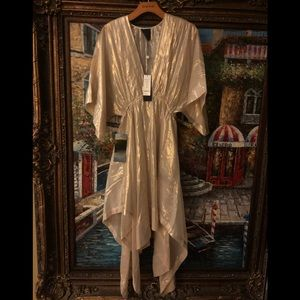Bebe woven sheer dress with kimono sleeves M